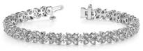 Fancy-Flower Fashion Diamond Bracelet in 14k White Gold (3.15ctw)