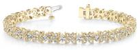 Fancy-Flower Fashion Diamond Bracelet in 14k Yellow Gold (3.15ctw)