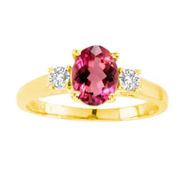 Oval Ruby 3-Stone Ring in 14K Gold (1.20ctw)