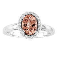 Oval Morganite and Diamond Halo Ring in 14k Gold (1.00ctw)