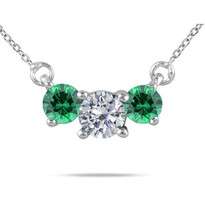Diamond and Emerald 3-Stone Necklace in 14K Gold