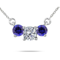 Diamond and Sapphire 3-Stone Necklace in 14K Gold