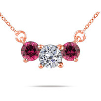 Diamond and Rubellite 3-Stone Necklace in 14K Gold