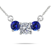 Diamond and Tanzanite 3-Stone Necklace in 14K Gold