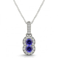 Two-Stone Tanzanite and Diamond Pendant (.80ctw)