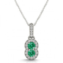 Two-Stone Emerald and Diamond Pendant (.75ctw)