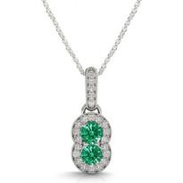 Two-Stone Emerald and Diamond Pendant (1.15ctw)
