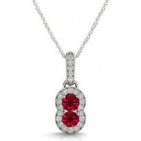 Two-Stone Ruby and Diamond Pendant (1.48ctw)