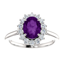 Oval Amethyst and Diamond halo Ring in 14k White Gold