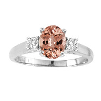 Oval Morganite 3-Stone Ring in 14K Gold