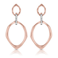 14K ROSE EARRINGS;DIAMOND=1/20 CTTW