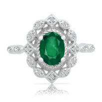 14k Emerald&Diamond ring filigre