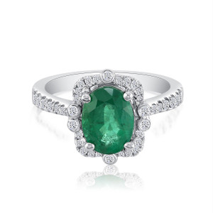 42 diamonds .35ct GH SI with 1.90ct Emerald AA set in 18k white gold