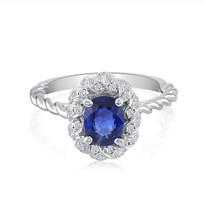 sapphire & diamonds ring 18k