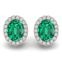 Oval Emerald & Diamonds Earring 2 ct 14k gold