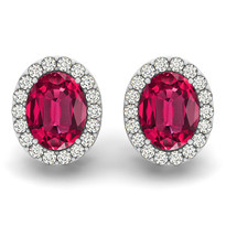 Oval Ruby & Diamonds Earring 2 ct 14k gold