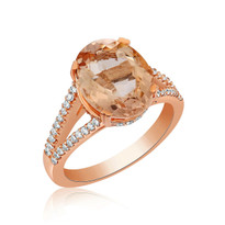 Morganite &Diamond ring  in 14k rose gold
