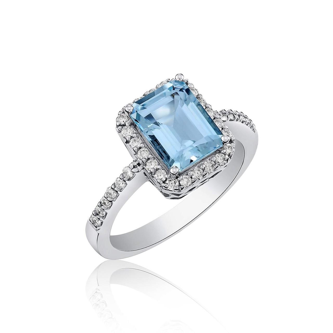 Diamond White Usa >> Aqua And Diamond Ring In 14k White Gold Usa Studs