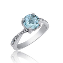 Aqua and Diamonds ring  in 14k white gold
