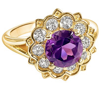 1.3CT ROUND AMETHYST WITH 1/2CT LAB GROWN DIAMOND 14K YELLOW GOLD