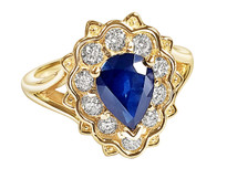 1.5CT PEAR SHAP SAPPHIRE  WITH 1/2CT LAB GROWN DIAMOND 14K YELLOW GOLD