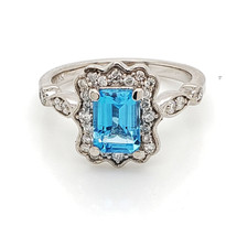 1ct blue topaz with diamond  14k white gold
