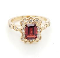 1ct Garnet with diamond  14k white gold