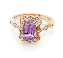 1ct amethyst  with diamond  14k white gold