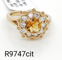 citrin ring with lab diamond 14k yellow gold