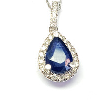 sapphire and  diamond pendant set in 18k white gold