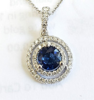 sapphire and diamond pendant 18k