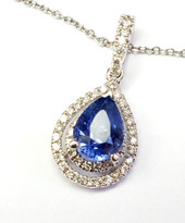 sapphire and diamond pendant 18k white gold