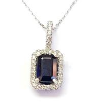 sapphire and diamond pendant 14k