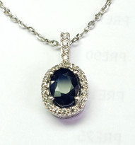 sapphire and diamond pendant 14k with chain