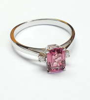 Pink Turmolin and diamond ring