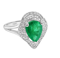 Emerald and diamond ring 18k white