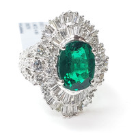 Emerald and diamond ring 18k