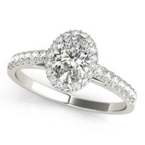 Halo Oval  Diamond Engagement  Ring 14k Gold