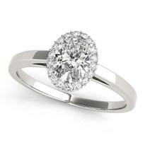 Oval Halo Diamond Ring 14k Gold