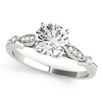ENGAGEMENT DIAMOND RINGS SINGLE ROW PRONG SET 14K GOLD