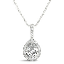 1/2 ct tw DIAMOND HALO PENDANT 14K GOLD