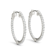 1 INCH LUCIDA RD HOOP DIAMOND EARINGS 40909 SERIES