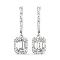 Emerald Cut Halo Diamond 14k Gold