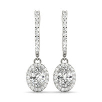 Halo Earrings Diamond 14k Gold