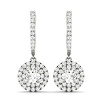 Round  Diamond Halo Earrings in 14k White Gold 1ct t.w