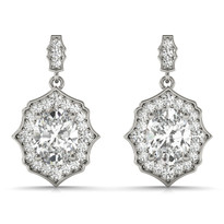 SCALLOPED OV HALO EARRINGS  DIAMOND 14K GOLD