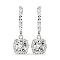 1/4 CT TW HALO DIAMOND 14K GOLD EARRINGS