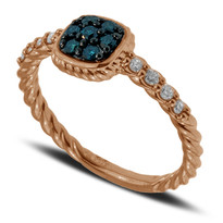 Blue and White Diamond Ring set in 14k Rose Gold (.30ct)