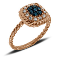 Rose Gold ring with Blue and White Diamonds set in 14k Rose Gold (.38ct)