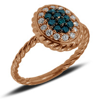 Rose Gold Oval Ring with Blue and White Diamonds set in 14k Rose Gold (.30ct)
